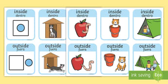 Outside And Inside Locational Prepositions Matching Cards English/Spanish - positional language, postional language, postions, preposistions, prepositons, prepostion, propositi