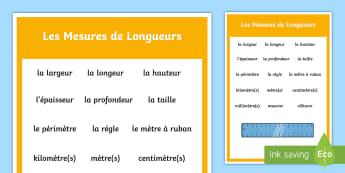 Poster : Vocabulaire sur les problèmes mathématiques sur les mesures de longueurs - problèmes mathématiques, math, additions, soustractions, multiplications, divisons, masses, quanti