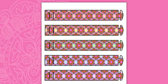 Rangoli Pattern Wristbands - patterns, diwali, hinduism, religion