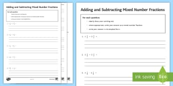 Adding and Subtracting Mixed Number Fractions Activity Sheet - worksheet, Addition, Subtraction, Improper , Simplify, Simplest, questions, Operations