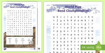 World Pipe Band Championships Word Search - Piping, Pipe Bands, Competition, Glasgow, Bagpipes, Drums, Drummers,Scottish