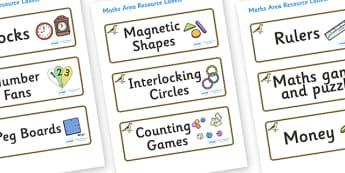 Sparrow Themed Editable Maths Area Resource Labels - Themed maths resource labels, maths area resources, Label template, Resource Label, Name Labels, Editable Labels, Drawer Labels, KS1 Labels, Foundation Labels, Foundation Stage Labels, Teaching Lab