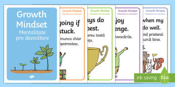 Growth Mindset Statement Display Posters English/Romanian - Growth Mindset Statement Posters KS1 - growth, mindset, statement, posters, ks1,  EAL