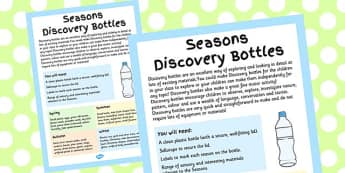 Seasons Discovery Bottles Adult Guidance Sheet - guide, plan