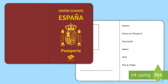 Spanish Passport Template Activity - personal, description, ourselves, identification, cultures, Spain, documentation