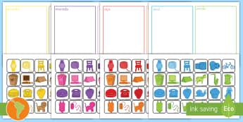 Ficha de actividad: Ordenar por colores - actividad para ordenar colores, ordenar colores, colores, amarillo, azul rojo, verde, rosado, morado