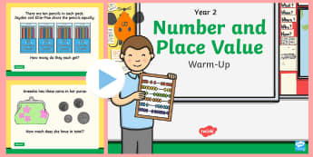 Year 2 Number and Place Value Warm-Up PowerPoint - Maths, year 2, number, place value, total, money, sequence, number, count, order, number line, equal
