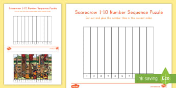 Scarecrow 1-10 Number Sequencing Puzzle - autumn, fall, scarecrows, number sequencing, puzzle, autumn puzzle, fall puzzle, scarecrow puzzle, p