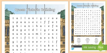 Sydney Queen Victoria Building Word Search-Australia - Sydney Australia, queen victoria building, famous, landmark, word search, find a word, fun, activity