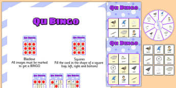 QU Spinner Bingo - speech sounds, phonology, articulation, speech therapy, cluster reduction