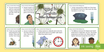 5-6 Spring in Australia Maths Challenge Cards - Problem, Solving, Open Ended, Tasks, mathematics, Spring, Australia, Seasons, Weather,Australia
