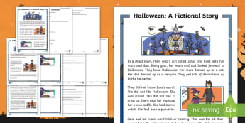 KS1 Halloween Fiction Differentiated Reading Comprehension - blending, fluency, 31st October, questions, comprehend