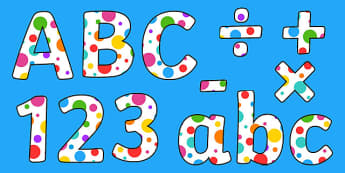 Multicoloured Polka Dot Display Alphabet - display, alphabet