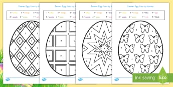 Easter Egg Color by Number Activity - Easter, Easter egg, color, coloring, art, activity, creativity