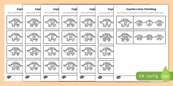 Dinosaur Themed Capital Letter Matching Worksheet - uppercase