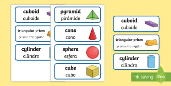 3D Shapes Word Cards English/Spanish - 3D Shape names, Shape Flashcards, Shape Pictures, Shape Words, 3D flashcards, numeracy, geometry, sh