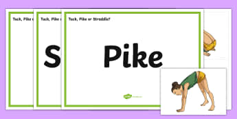 Tuck, Pike or Straddle? Sorting Cards - KS2, Y3, Y4, gymnastics, body shapes, positions, tuck, pike, straddle, sorting, game, matching, stat