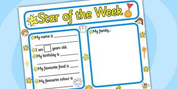 Star of the Week Writing Frame - writing frame, star of the week, star writing frame, writing, writing template, template, star, week, frames, award