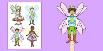 Male and Female Fairies Fairy Themed Stick Puppets - male, female, fairies, fairy, stick puppets