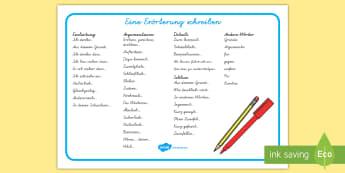 Eine Erörterung schreiben Wortschatzsammlung: Querformat - Argumentieren, Argumentation, Argumente, Pro, Kontra, für, gegen, Aufsatz, ,German