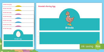 Brenda's Boring Egg Role-Play Headbands - duck, duckling, hatching, life cycle, EYFS, KS1, English, Role-play resources, Story role-play, acti