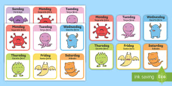 Monster Days of the Week Snap Game - English/Portuguese - Monster Days of the Week Snap Game - monster, days of the week, snap game, snap, game, activity,days