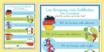 Póster DIN A4 Las lenguas más habladas en Europa Display Poster-Spanish