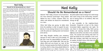 Ned Kelly: Hero or Villain? Exposition Writing Sample - Literacy, Ned Kelly: Hero or Villain? Exposition  Writing Sample, writing sample, writing, english,