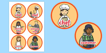 Pizza Parlour Role Play Badges - ESL Restaurant Role Play