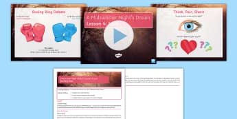 Secondary - English - A Midsummer Night's Dream Lesson Pack - A Midsummer Night's Dream, theme, love