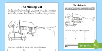 The Missing Cat Position Activity Sheet - Mathematics, Foundation Year, worksheet, Measurement and Geometry, Location and transformation, ACMM