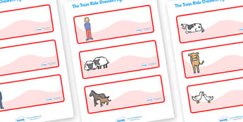 The Train Ride Editable Drawer-Peg-Name Labels - The Train Ride, June Crebbin, journey, transport, resources, rhyme, rhythm, tractor, story, story book, story book resources, story sequencing, story resources, Editable Drawer - Peg - Name Labels - Cl