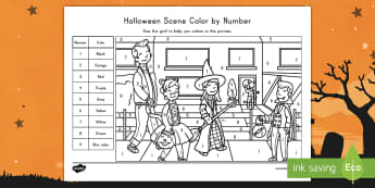 Halloween Scene Color By Number Activity - Holidays, October, Fall, Halloween Activities, color recognition, number recognition, fine motor ski
