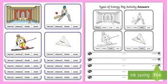 Types of Energy Peg Game - science games, energy games, energy activities, thermal energy, sound energy, kinetic energy, chemic