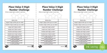 Place Value 3-Digit Number Challenge Activity Sheet-Scottish, worksheet