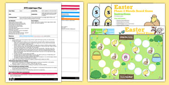 Easter Phase 2 Sounds Board Game EYFS Adult Input Plan and Resource Pack - easter, phase 2