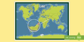UAE On a World Map - UAE, ADEC, MOE, map, uae, gulf, gcc, middle east