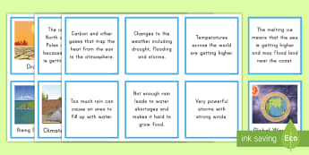 Climate Change Matching Cards - Climate Change, Greenhouse Gases, Climate, Carbon dioxide, Fossil Fuels