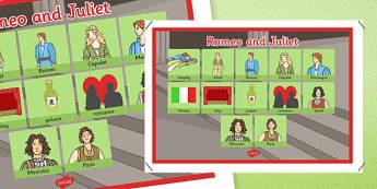 Romeo and Juliet Vocabulary Mat - romea and juliet, shakespeare, vocabulary, mat