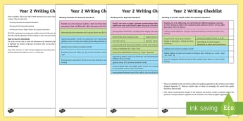 Year 2 Writing Checklist - KS1, year 2, writing, assessment, targets, checklist, progress, objectives, working towards, expecte