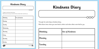 Kindness Diary Worksheet - kindness, diary, worksheet, sheet