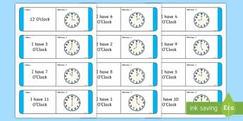 Time O'Clock Loop Cards - ROI, Irish, Gaeilge, time, clocks, o'clock, an t-am, am, clog, an chlog, loop game,Irish, hour