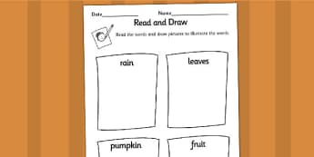 Autumn Read and Draw Worksheets - seasons, weather, reading