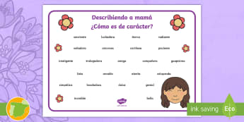 Describiendo a mamá - el carácter Tapices de vocabulario - Día de la madre, Mother's day in Spain, descripción, carácter, description, personality, describ