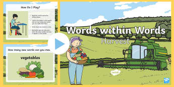 KS1 Harvest Words within Words PowerPoint - language, patterns, spellings, Autumn, Spot