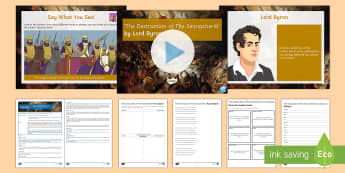 Lesson Pack to Support Teaching on 'The Destruction of the Sennacherib' by Lord Byron - GCSE Poetry, Lord Byron, George Gordon Byron, The Romantics, Romantic Poetry, anapaestic tetrameter,