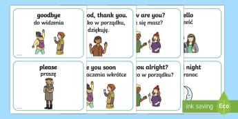 Greetings A5 Flashcards English/Polish - thank you, hello, bye, please, EAL, good,