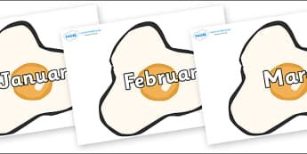 Months of the Year on Fried Eggs - Months of the Year, Months poster, Months display, display, poster, frieze, Months, month, January, February, March, April, May, June, July, August, September