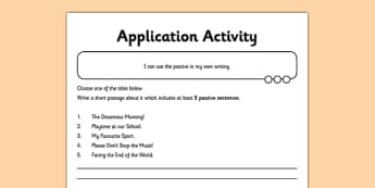 Using the Passive Application Activity Sheet - GPS, spelling, punctuation, grammar, worksheet