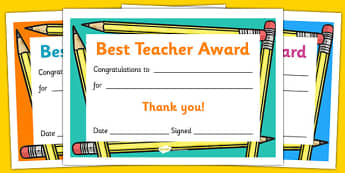 Best Teacher Award Certificate - reward, thank you, teachers, end of year, end of term